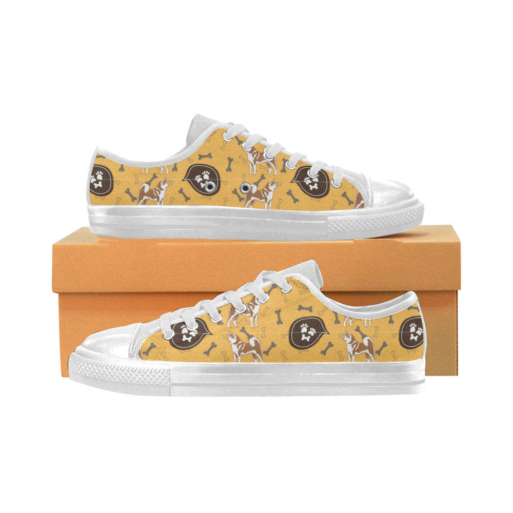 Akita Pattern White Women's Classic Canvas Shoes - TeeAmazing