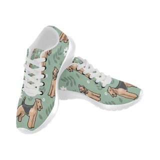Airedale Terrier Flower White Sneakers for Women - TeeAmazing