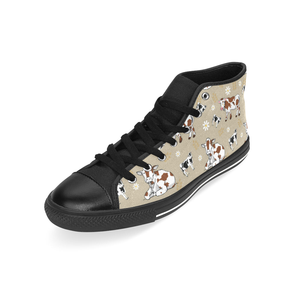 Cow Pattern Black Men's Classic High Top Canvas Shoes /Large Size - TeeAmazing