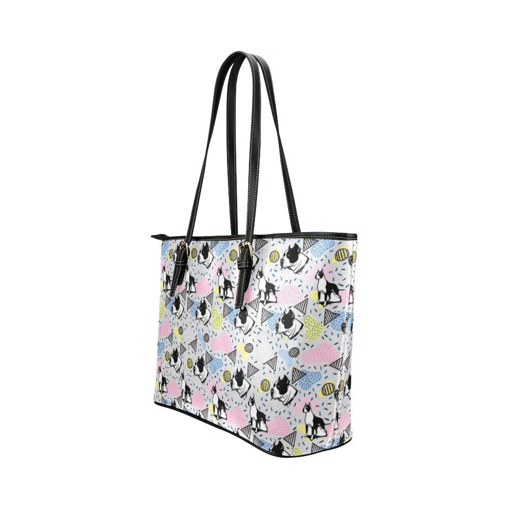 American Staffordshire Terrier Pattern Leather Tote Bag/Small - TeeAmazing
