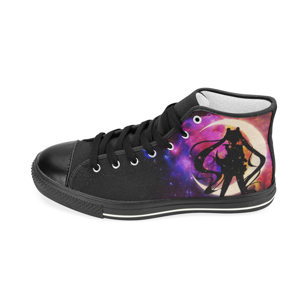 Sailor Moon Black Men's Classic High Top Canvas Shoes - TeeAmazing