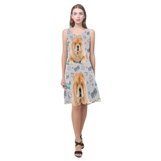 Chow Chow Dog Sleeveless Splicing Shift Dress - TeeAmazing