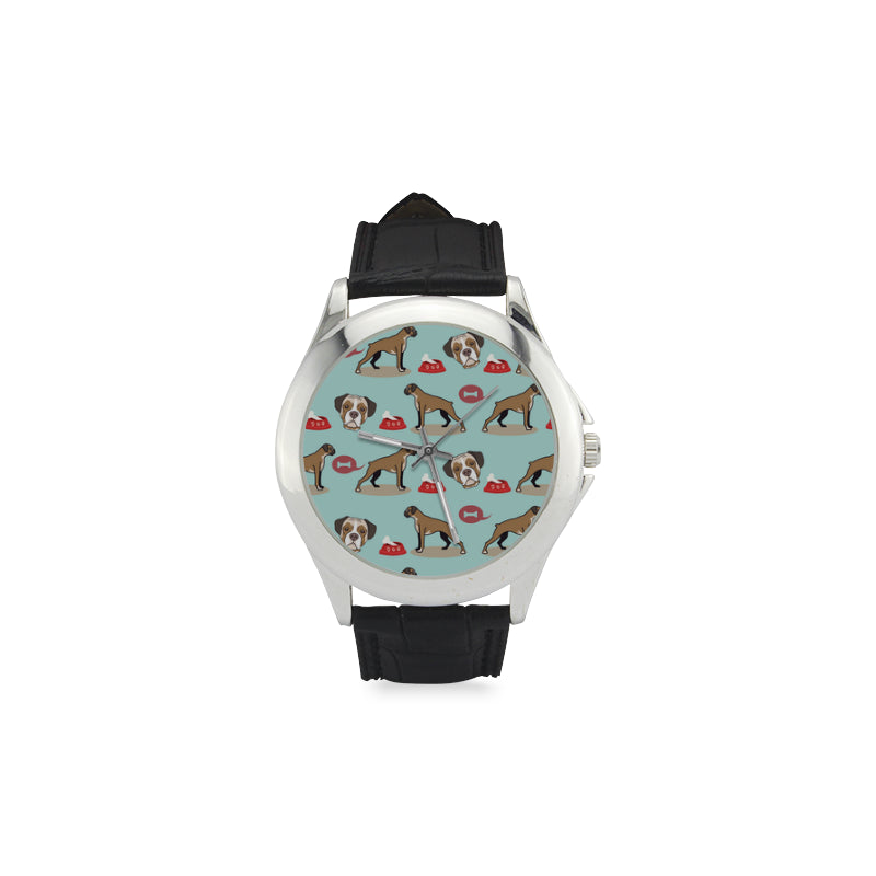 Boxer Pattern Women's Classic Leather Strap Watch - TeeAmazing