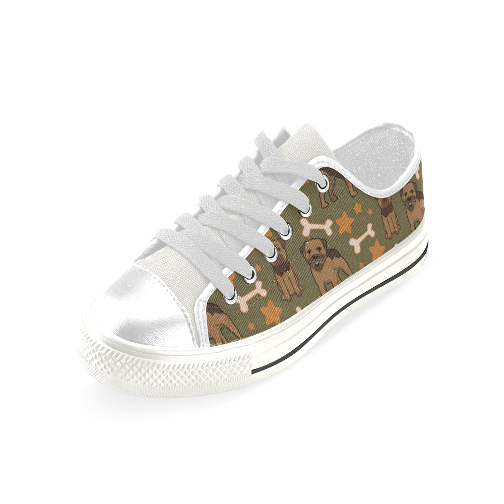 Border Terrier Pattern White Low Top Canvas Shoes for Kid - TeeAmazing