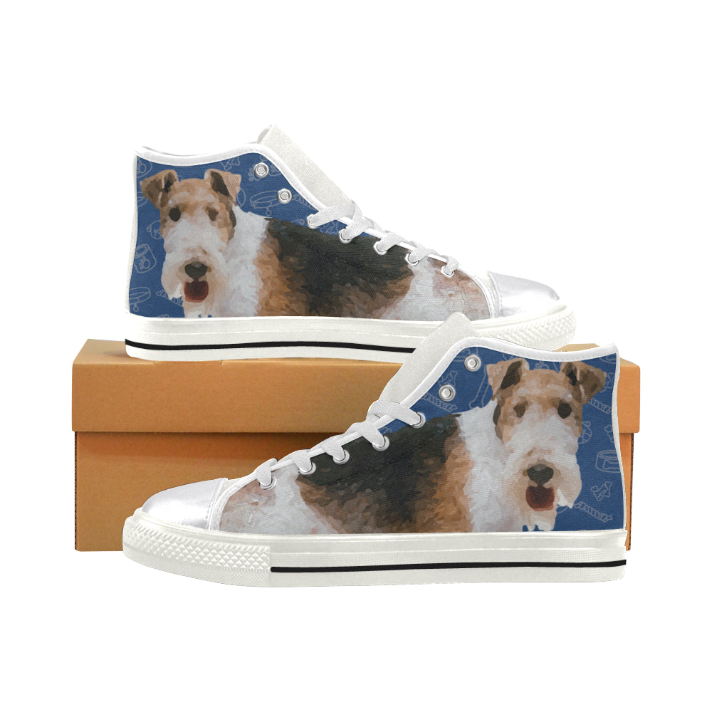Wire Hair Fox Terrier Dog White Women\'s Classic High Top Canvas Shoes