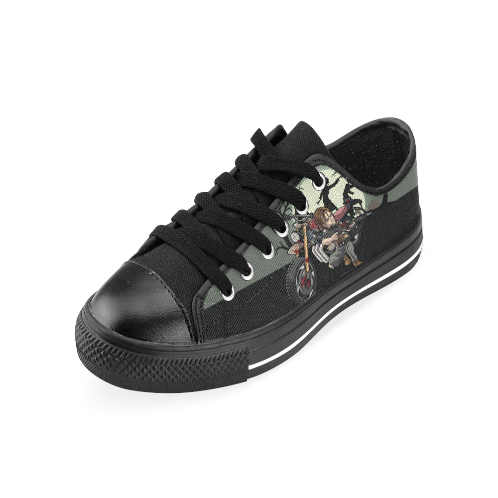 Daryl Dixon Black Men's Classic Canvas Shoes/Large Size - TeeAmazing