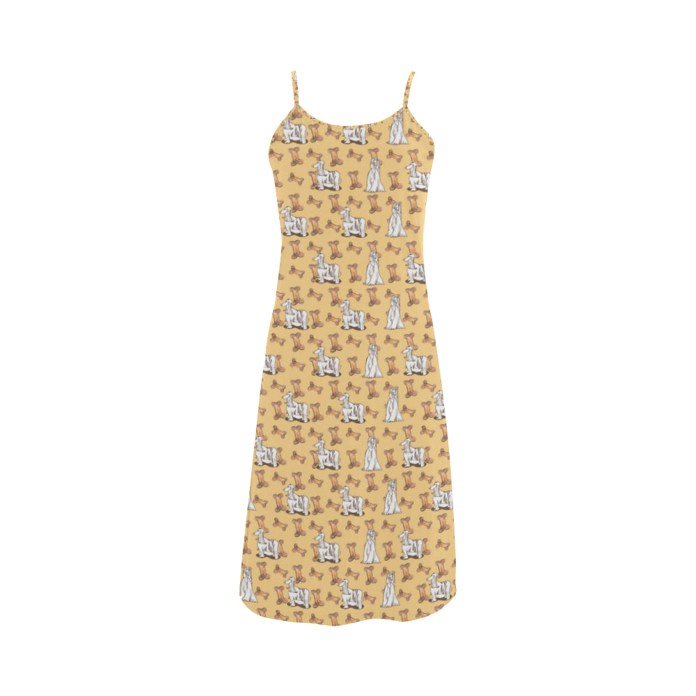 Afghan Hound Pattern Alcestis Slip Dress - TeeAmazing
