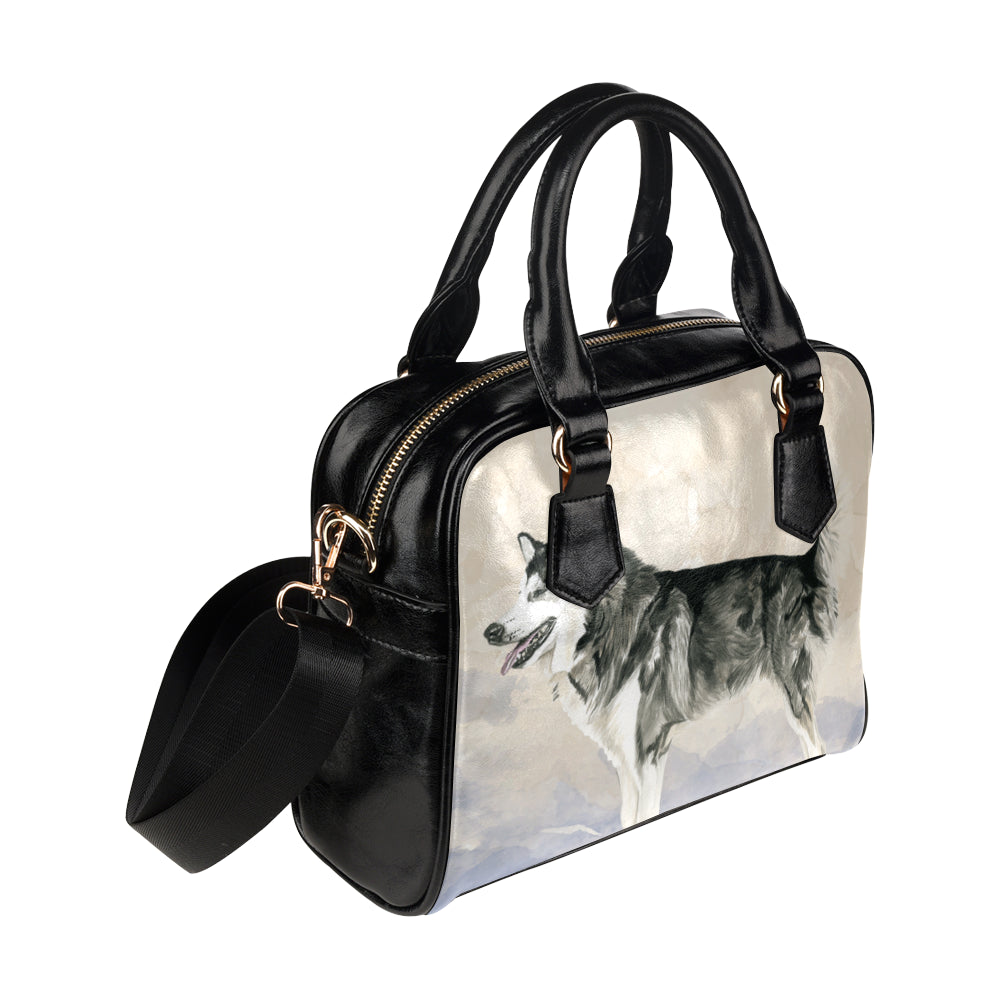 Alaskan Malamute Water Colour Shoulder Handbag (Model 1634) - TeeAmazing