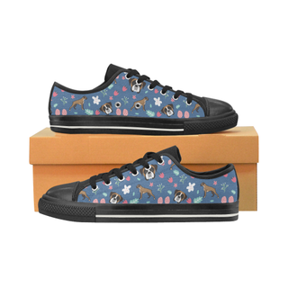 Boxer Flower Black Canvas Women's Shoes/Large Size (Model 018) - TeeAmazing