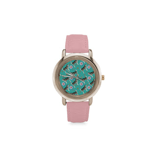 Alaskan Malamute Water Colour Pattern No.1 Women's Rose Gold Leather Strap Watch - TeeAmazing
