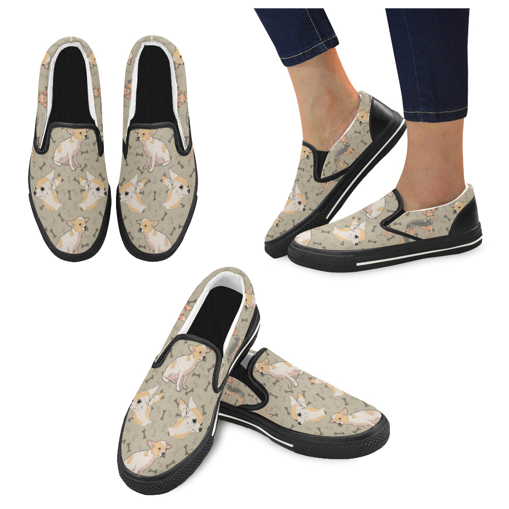 Chihuahua Black Women's Slip-on Canvas Shoes/Large Size (Model 019) - TeeAmazing