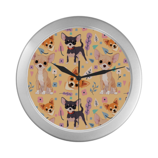 Chihuahua Flower Silver Color Wall Clock - TeeAmazing