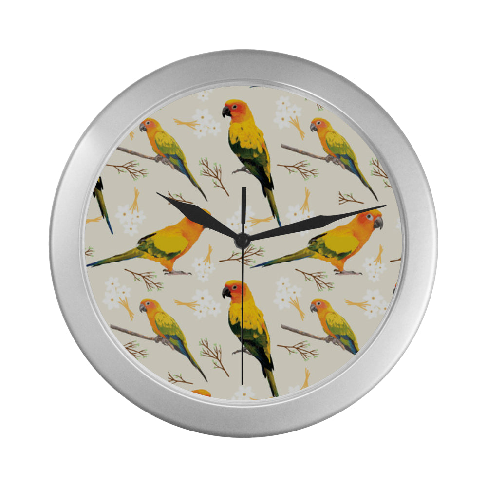 Conures Silver Color Wall Clock - TeeAmazing