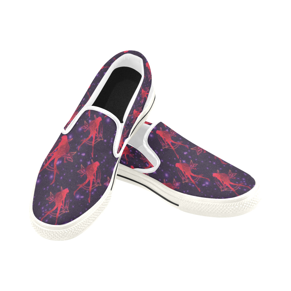 Sailor Mars White Women's Slip-on Canvas Shoes/Large Size (Model 019) - TeeAmazing