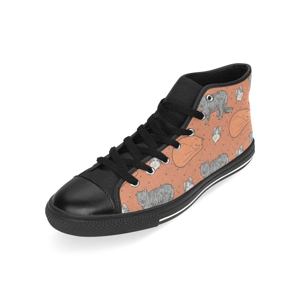 American Curl Black High Top Canvas Women's Shoes/Large Size (Model 017) - TeeAmazing