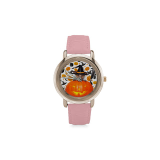 Jack Russell Halloween Women's Rose Gold Leather Strap Watch - TeeAmazing