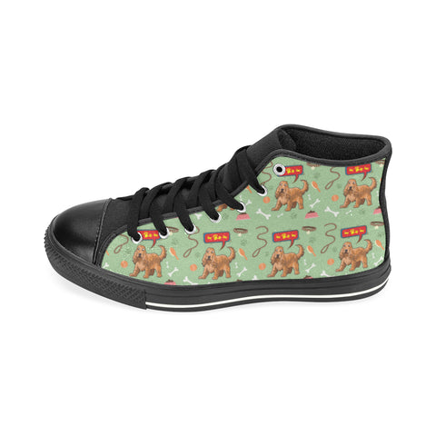 American Cocker Spaniel Pattern Black High Top Canvas Women's Shoes/Large Size (Model 017) - TeeAmazing
