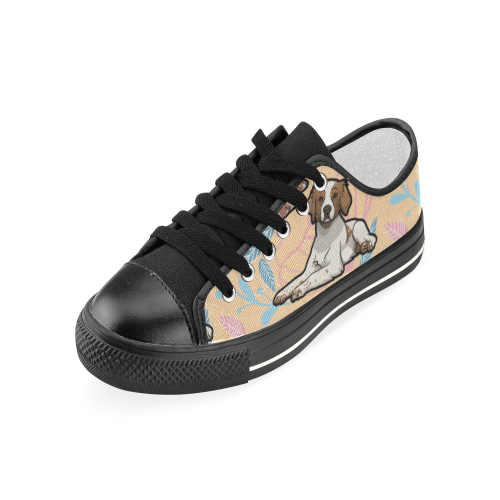 Brittany Spaniel Flower Black Women's Classic Canvas Shoes - TeeAmazing