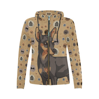 Miniature Pinscher Dog All Over Print Full Zip Hoodie for Women - TeeAmazing