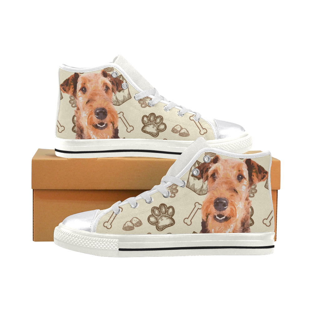 Airedale Terrier White Women's Classic High Top Canvas Shoes - TeeAmazing