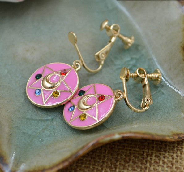 Fashion Jewelry Sailor Moon Earrings Ear pendant Tsukino Usagi Change Device Girl Women Cosplay Accessories - TeeAmazing - 1