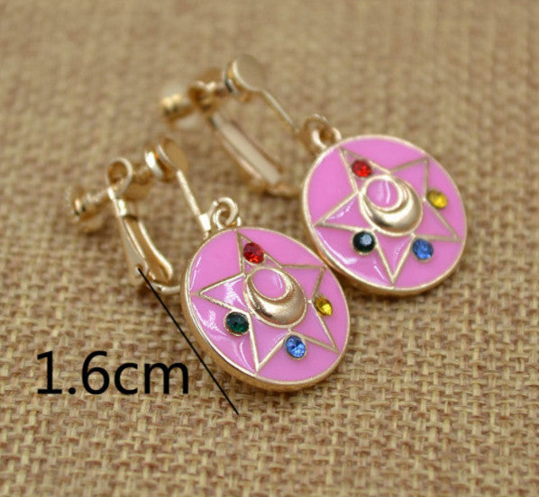 Fashion Jewelry Sailor Moon Earrings Ear pendant Tsukino Usagi Change Device Girl Women Cosplay Accessories - TeeAmazing - 3