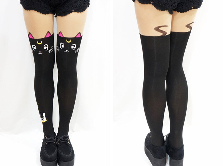 Sailor Moon cosplay costume Crystal Luna Kitty Cute Pantyhose Women Panty Stocking Tights - TeeAmazing