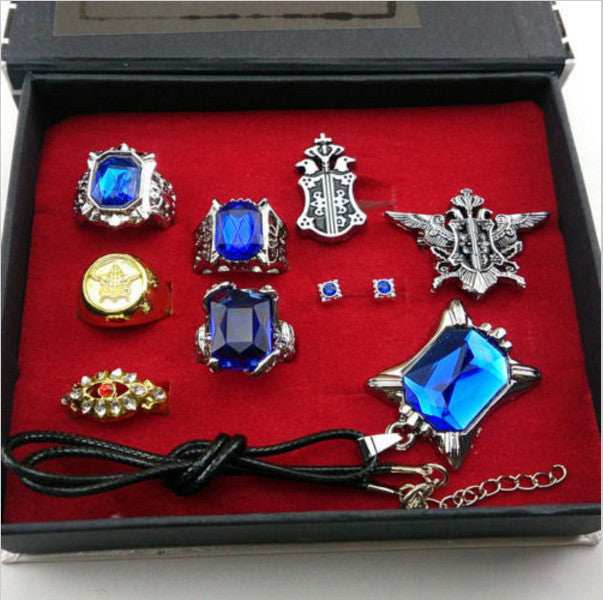 Cosplay Black Butler Ciel Sebastian ring necklace earring studs Jewelry set - TeeAmazing