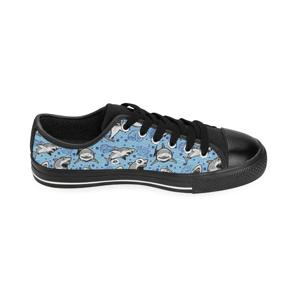 Shark Black Men's Classic Canvas Shoes - TeeAmazing