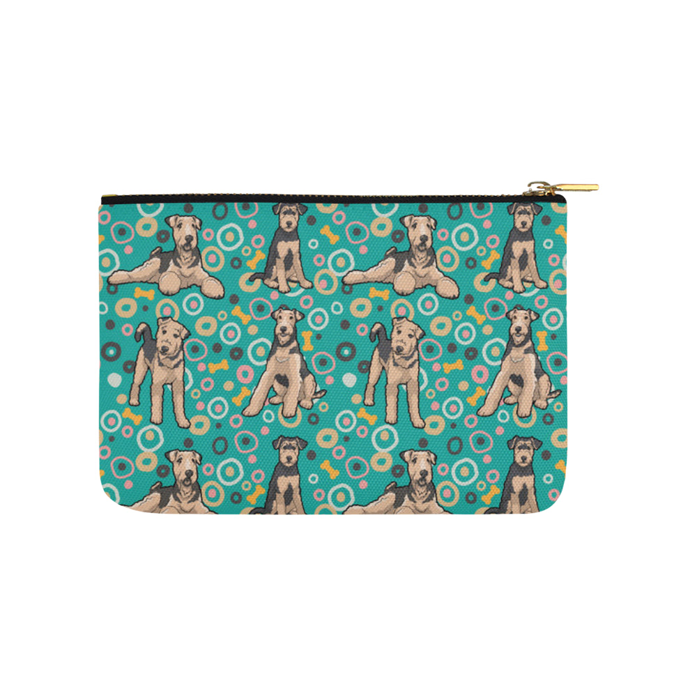 Airedale Terrier Pattern Carry-All Pouch 9.5x6 - TeeAmazing