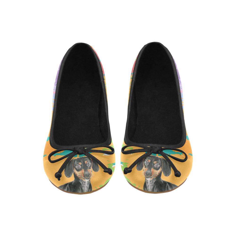 Dachshund Water Colour No.2 Juno Ballet Pumps - TeeAmazing