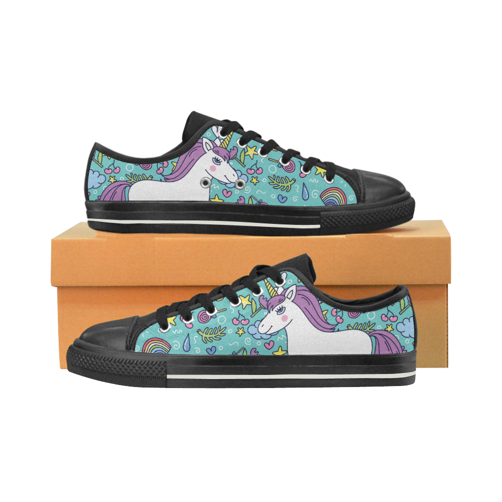 Unicorn Black Canvas Women's Shoes/Large Size - TeeAmazing