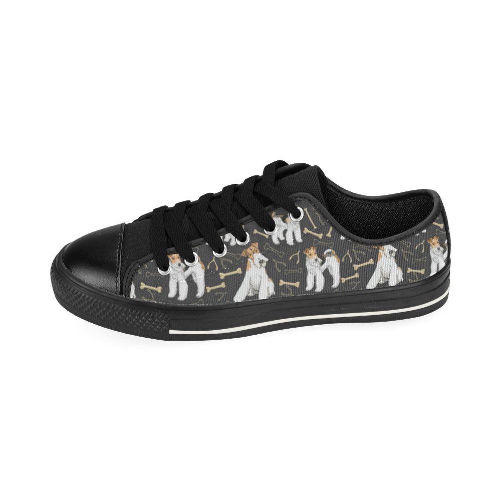 Wire Hair Fox Terrier Black Canvas Women's Shoes/Large Size - TeeAmazing