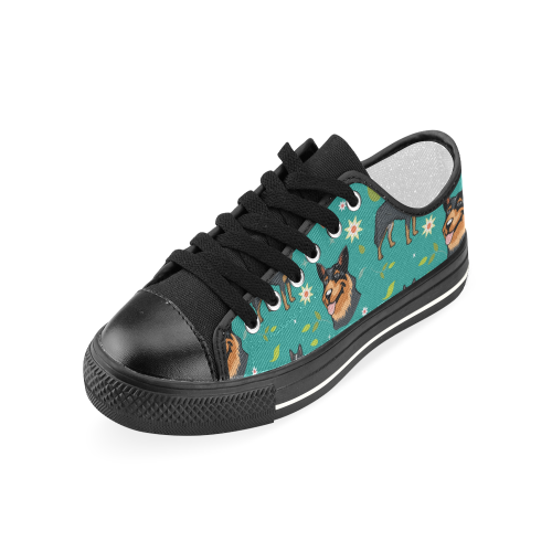 Australian Cattle Dog Flower Black Women's Classic Canvas Shoes - TeeAmazing