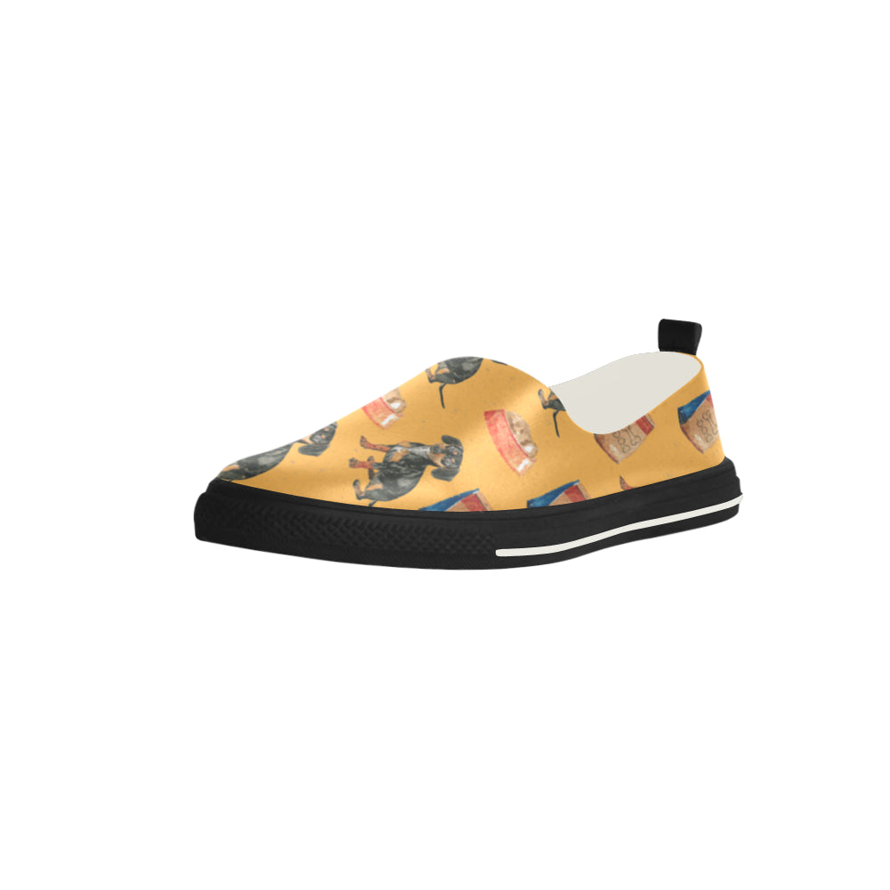 Dachshund Water Colour Pattern No.1 Apus Slip-on Microfiber Women's Shoes - TeeAmazing