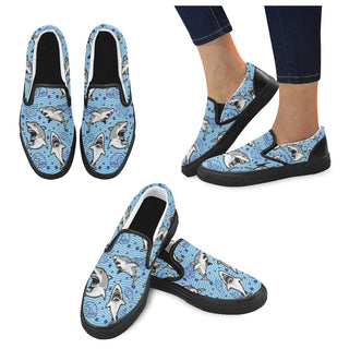Shark Black Women's Slip-on Canvas Shoes - TeeAmazing