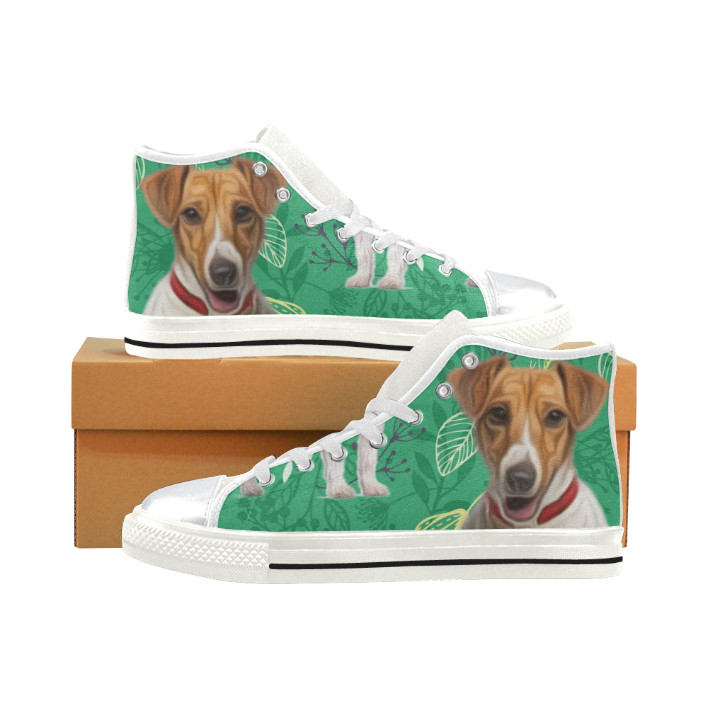 4dfe85aaf80 Jack Russell Terrier Lover White High Top Canvas Women s Shoes Large Size -  TeeAmazing