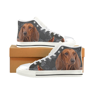Dachshund Lover White High Top Canvas Women's Shoes/Large Size - TeeAmazing