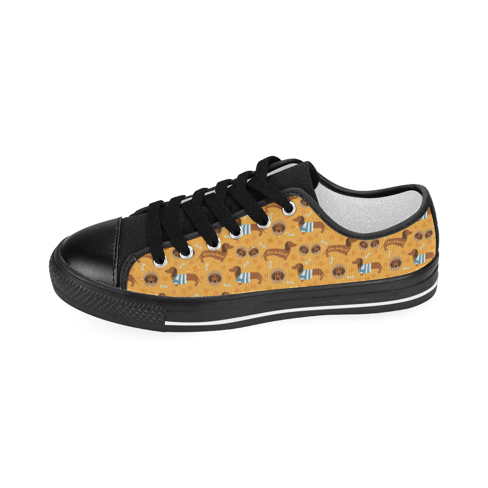 Dachshund Pattern Black Men's Classic Canvas Shoes - TeeAmazing