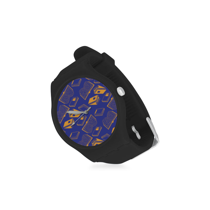 Book Pattern Black Unisex Round Rubber Sport Watch - TeeAmazing