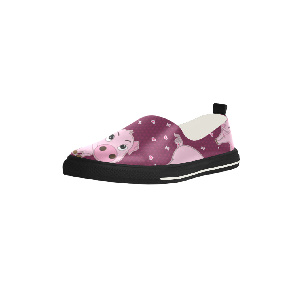 Pig Apus Slip-on Microfiber Women's Shoes - TeeAmazing