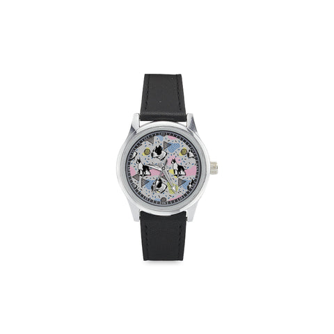 American Staffordshire Terrier Pattern Kid's Stainless Steel Leather Strap Watch(Model 208) - TeeAmazing