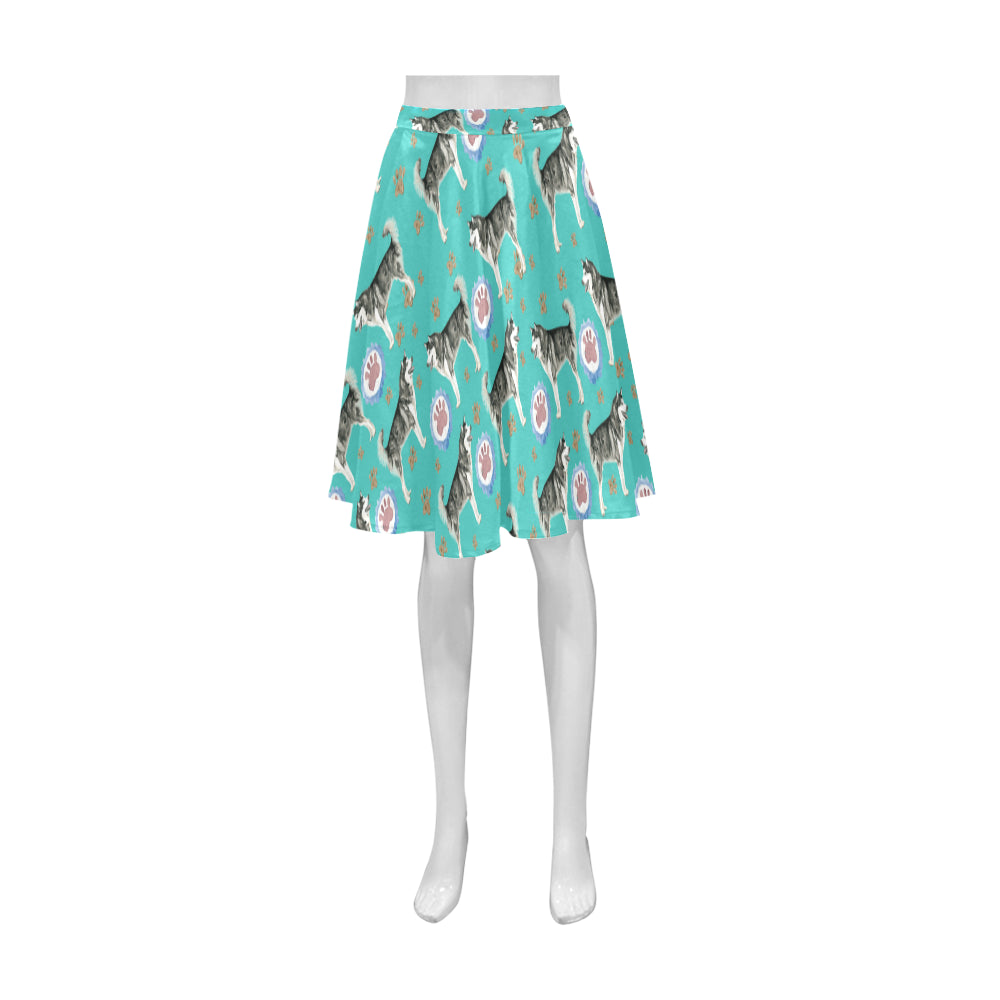 Alaskan Malamute Water Colour Pattern No.1 Athena Women's Short Skirt - TeeAmazing