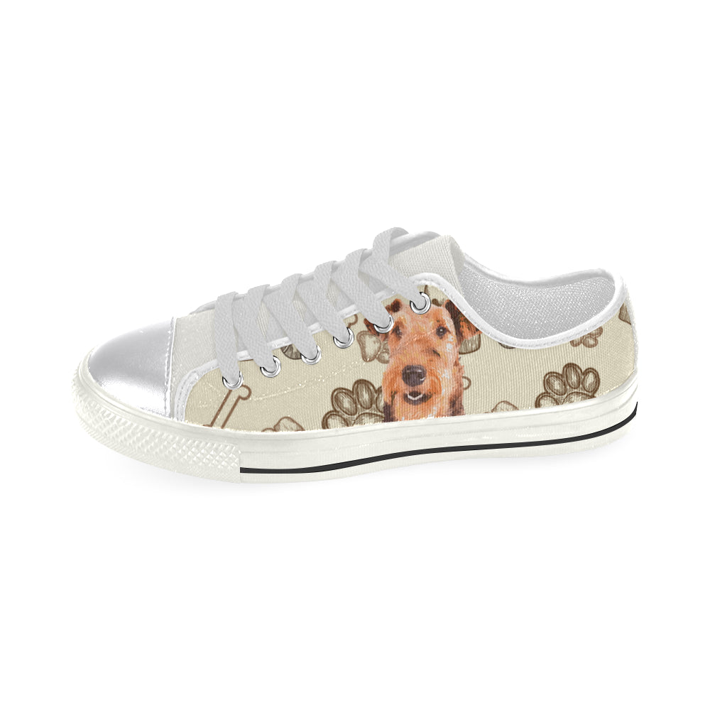 Airedale Terrier White Canvas Women's Shoes/Large Size - TeeAmazing