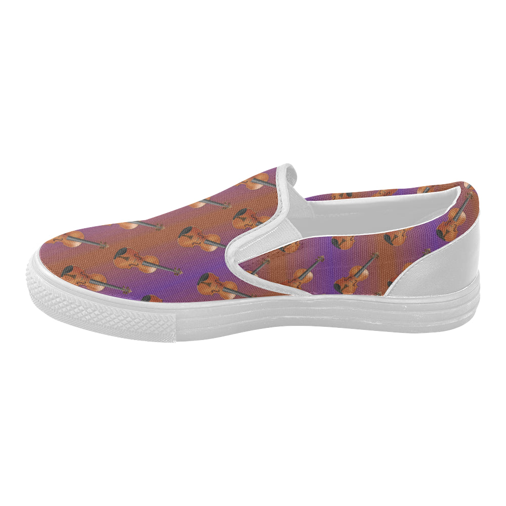 Violin Pattern White Women's Slip-on Canvas Shoes - TeeAmazing