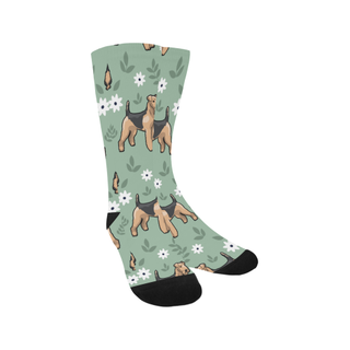 Airedale Terrier Flower Trouser Socks - TeeAmazing