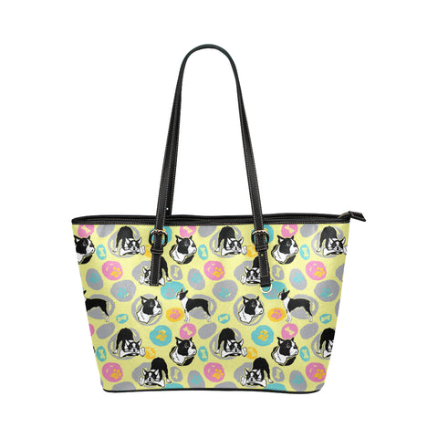 Boston Terrier Pattern Leather Tote Bag/Small (Model 1651) - TeeAmazing