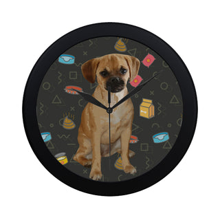 Puggle Dog Black Circular Plastic Wall clock - TeeAmazing
