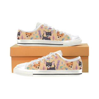 Chihuahua Flower White Canvas Women's Shoes/Large Size (Model 018) - TeeAmazing