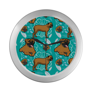 Bullmastiff Flower Silver Color Wall Clock - TeeAmazing